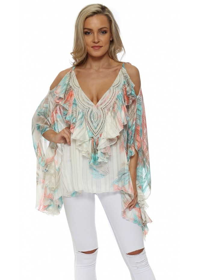 My Story Province Aqua & Pink Beaded Cold Shoulder Ruffle Top