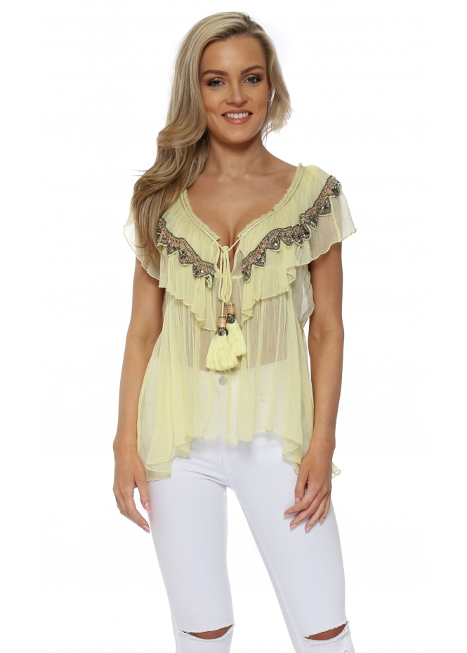 Laurie & Joe Canary Yellow Jewelled Ruffle Sleeveless Top