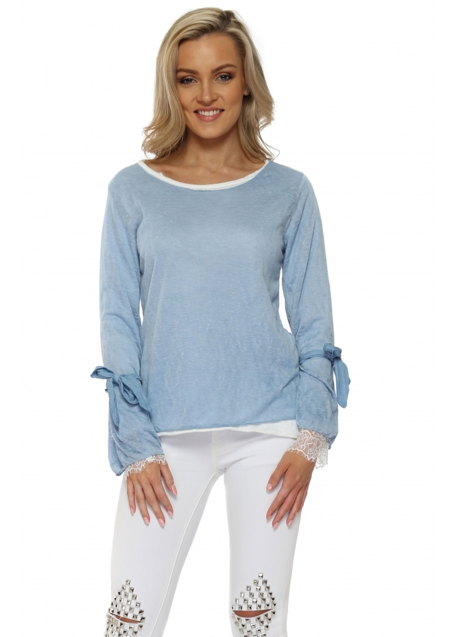 Made In Italy Blue Double Layered Slub Knit Top
