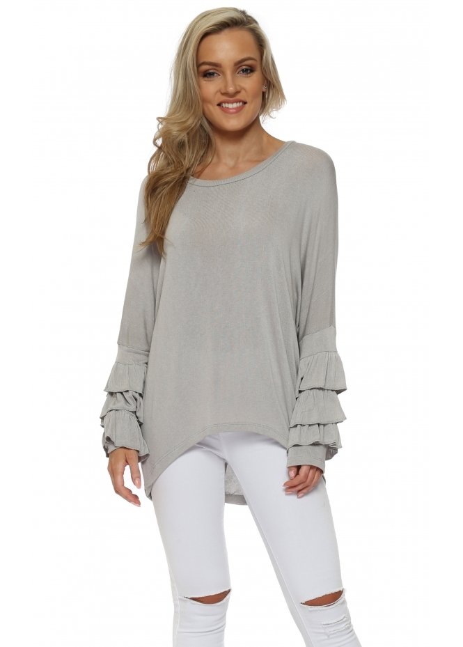 French Boutique Mocha Layered Frill Sleeve Dip Hem Top