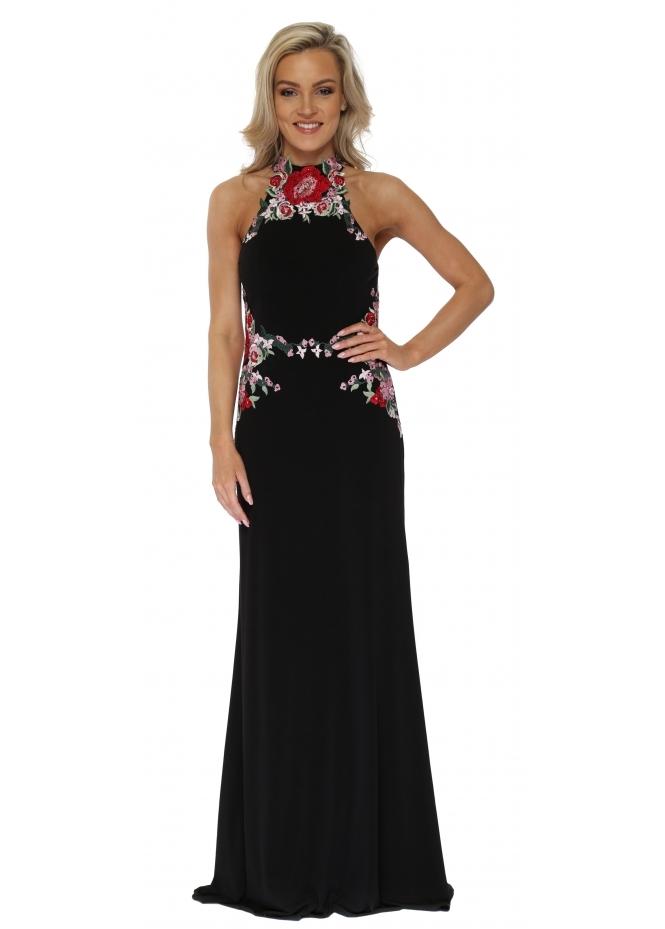 Mascara Black Floral Embroidered Backless Evening Dress