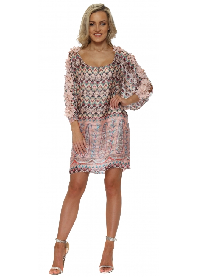 Laurie & Joe Pink Print Floral Diamante Tunic Dress