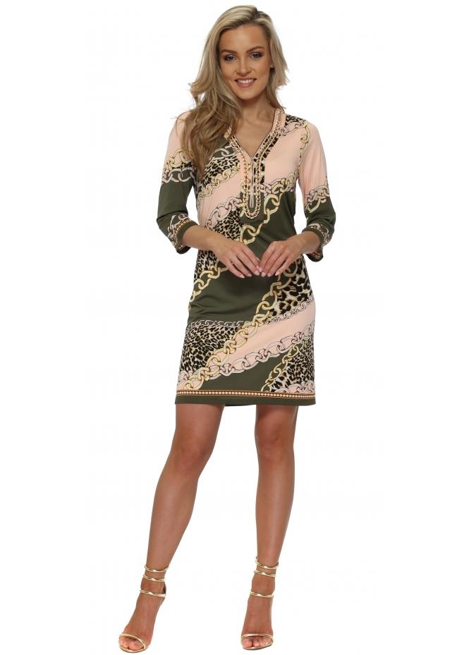 K-Design Khaki & Peach Chain & Leopard Print Dress