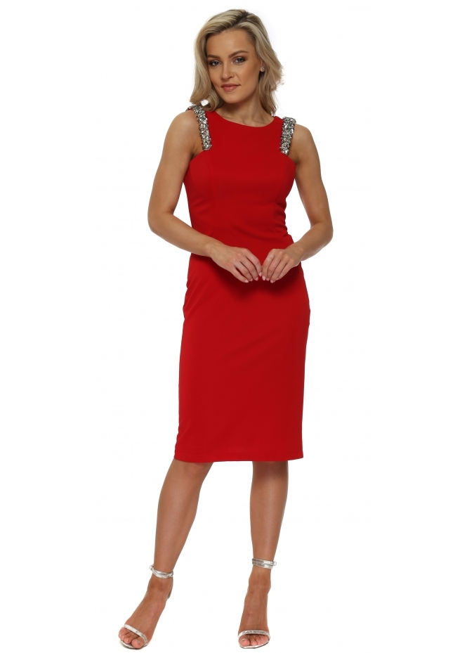 Pia Michi Red Sequinned Strap Mesh Back Pencil Dress