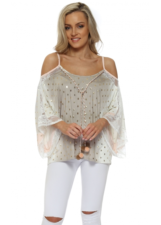 My Story Peach Ombre Gold Foil Pom Pom Cold Shoulder Top