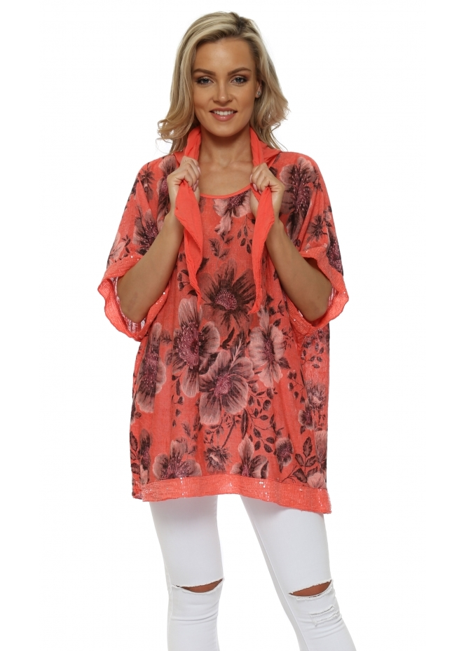 Made In Italy Coral Floral Print Slub Knit Sequinned Top