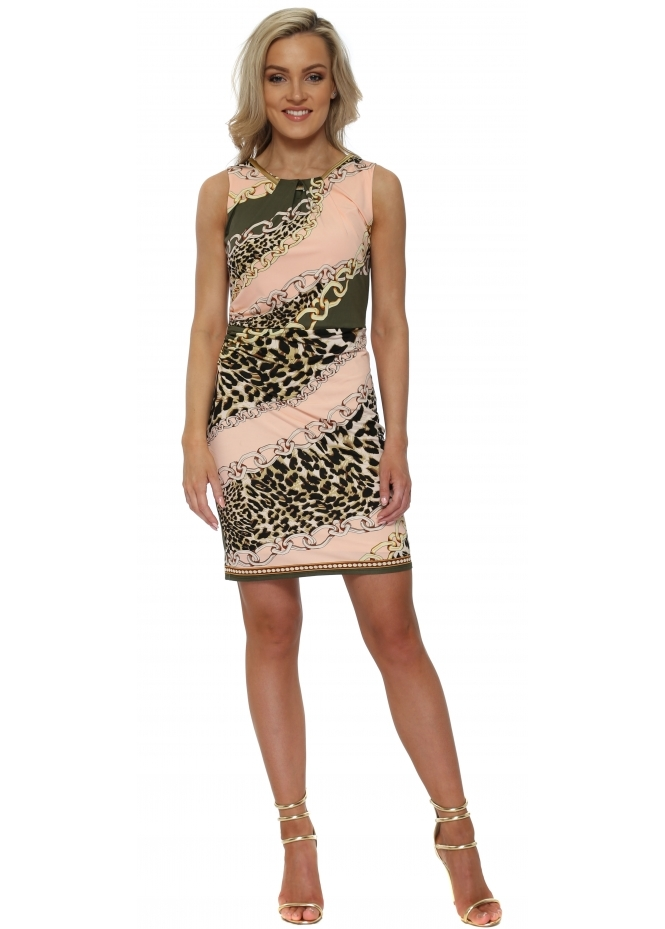K-Design Khaki & Peach Chain & Leopard Print Sleeveless Dress