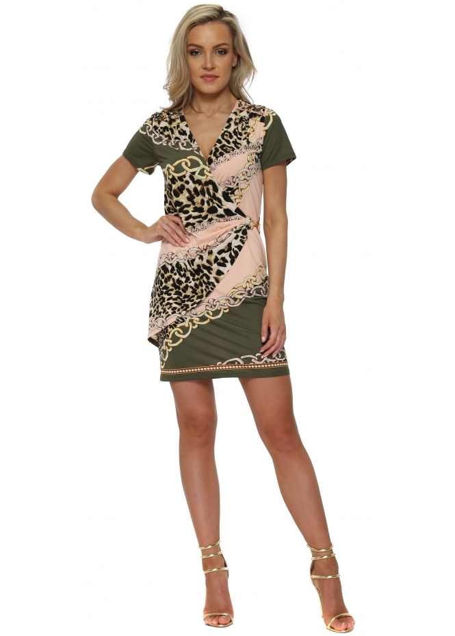 K-Design Khaki & Peach Chain & Leopard Print Wrap Dress