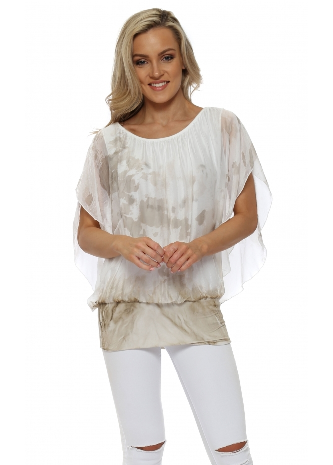 French Boutique Taupe Tie Dye Silk Batwing Top
