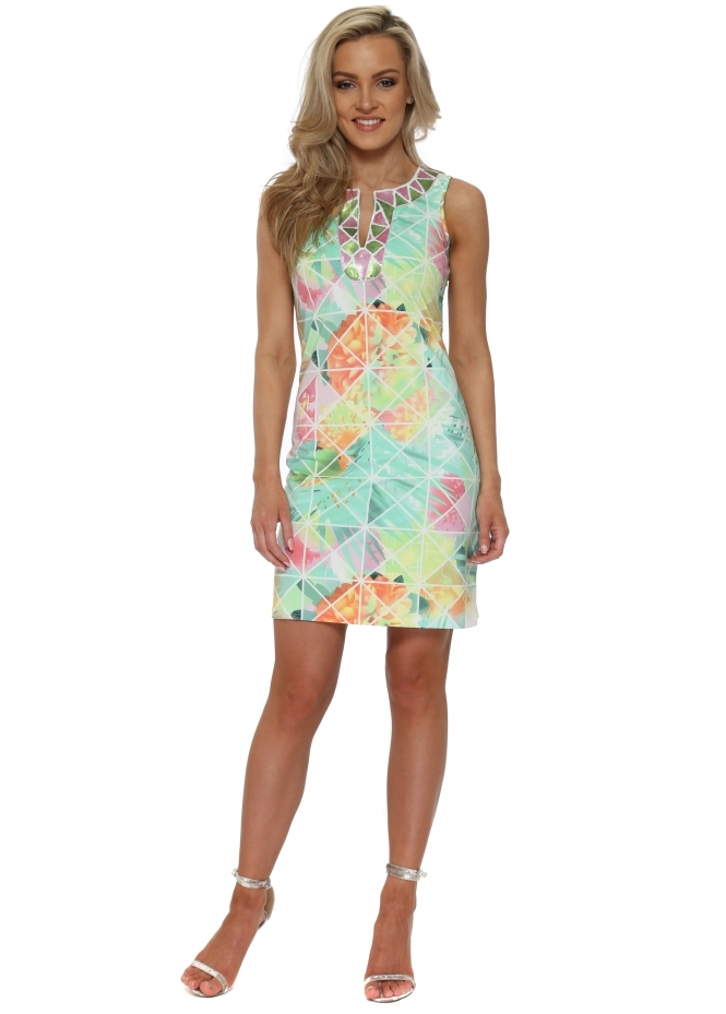 K-Design Neon Abstract Print Sequin Neckline Dress