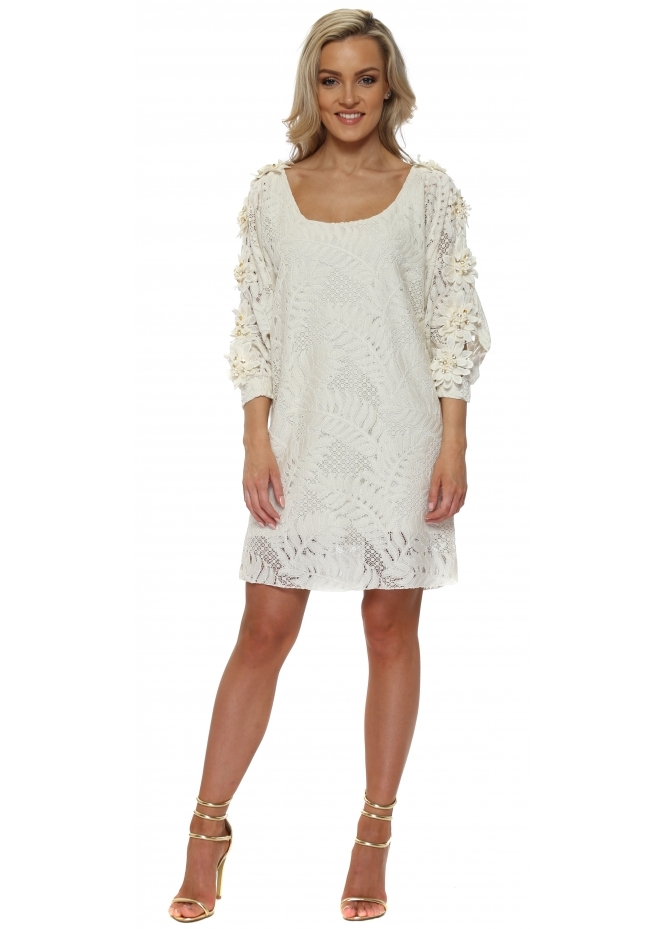 Laurie & Joe Cream Lace Floral Diamante Sleeve Tunic Dress
