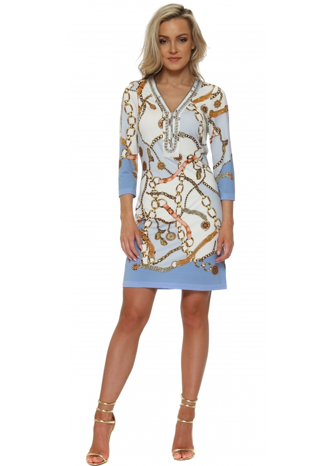 K-Design Blue & White Gold Chain Print Dress