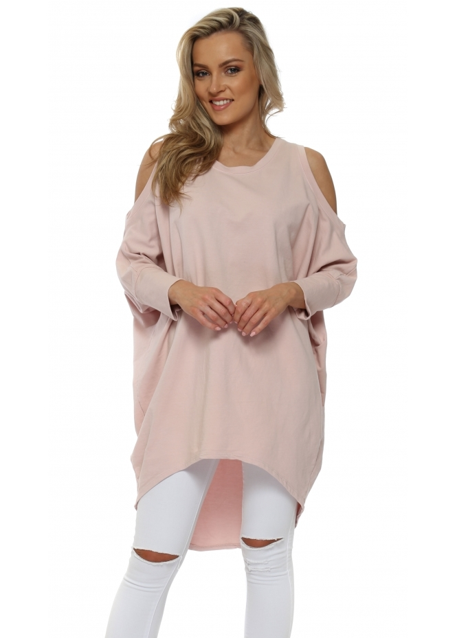 Italian Boutique Pink Cold Shoulder Long Cotton Sweatshirt