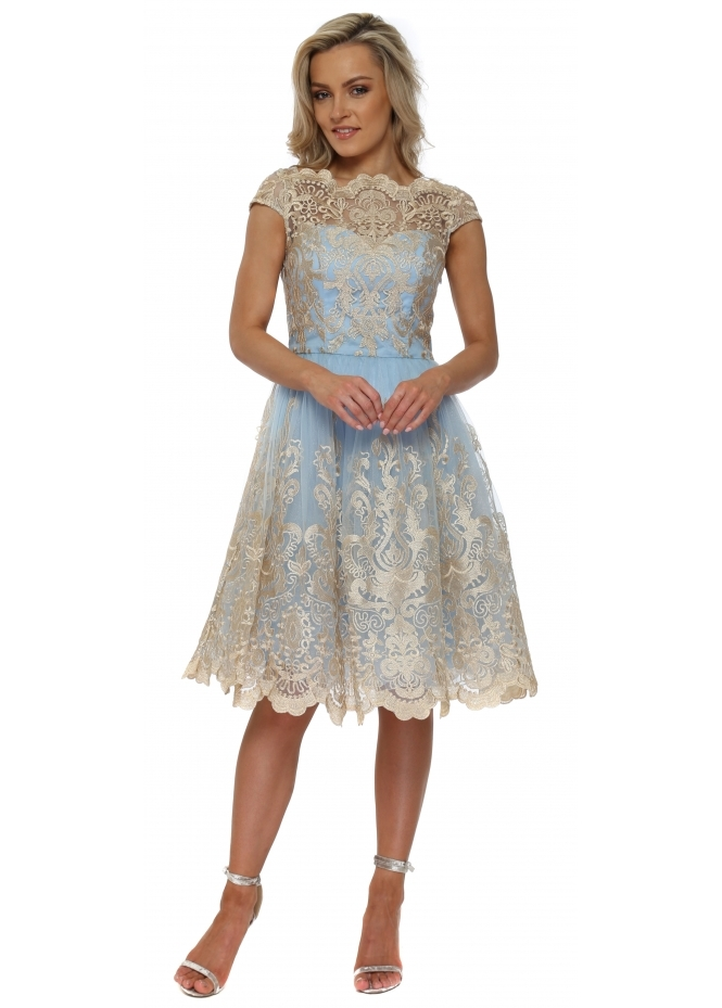 Chi Chi Mariela Powder Blue & Gold Embroidered Tea Dress