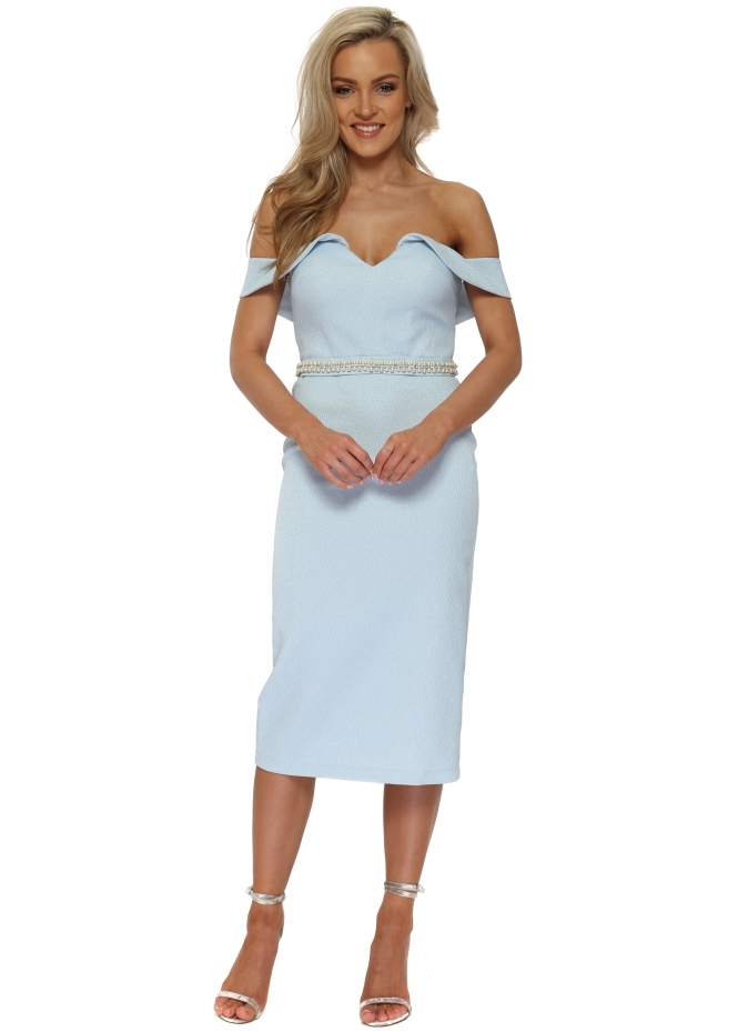 Pia Michi Baby Blue Pearl Off The Shoulder Pencil Dress