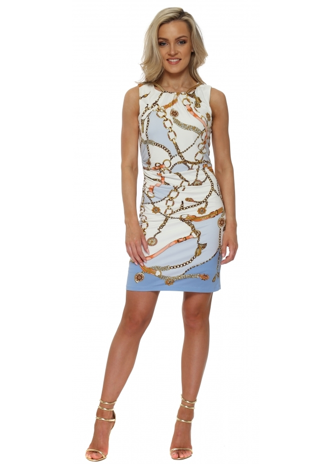 K-Design Blue & White Gold Chain Print Sleeveless Dress