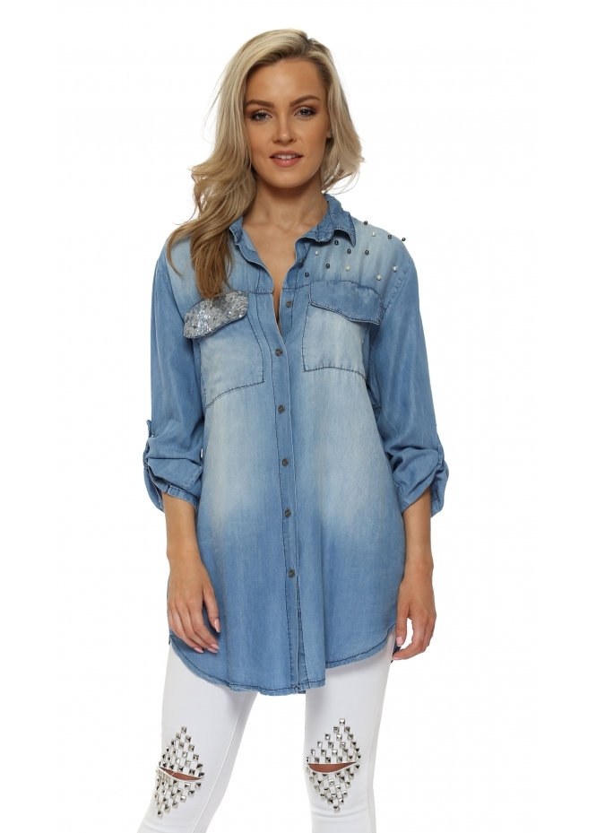 Made In Italy Distressed Pearl & Sequin Denim Boyfriend Shirt