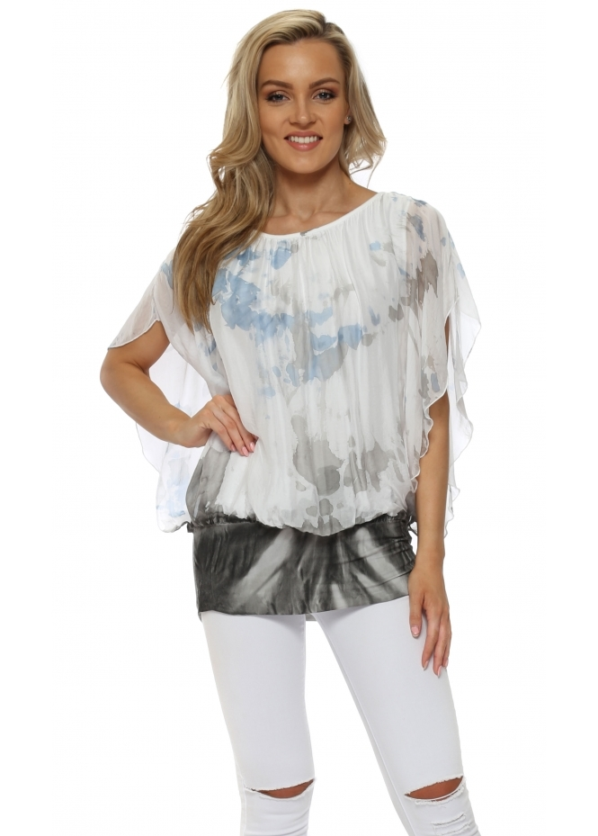 Pinka Grey & Blue Tie Dye Silk Batwing Top