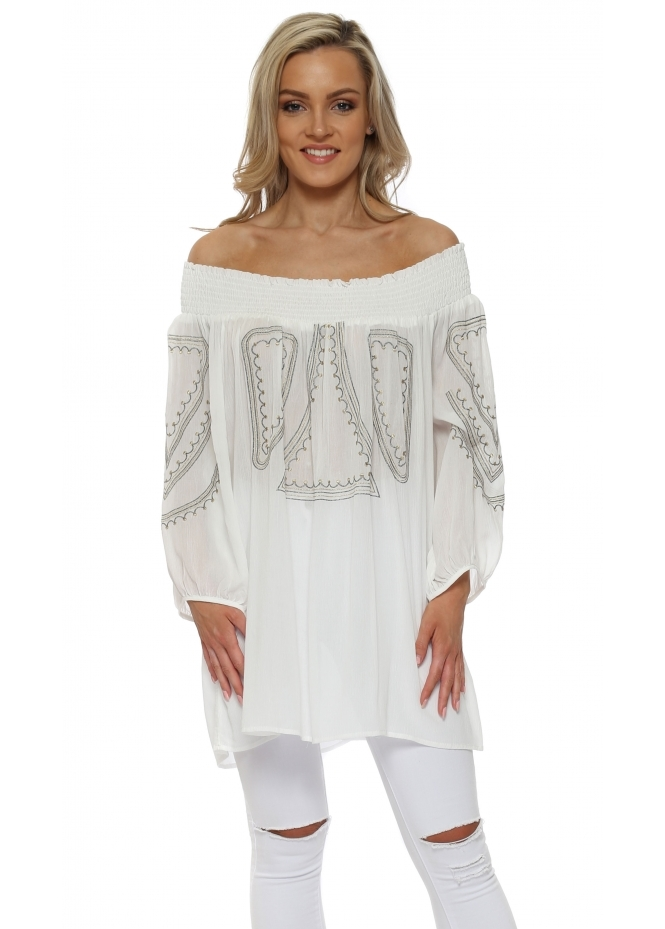 Made In Italy White Off The Shoulder Gold & Silver Embroidered Top
