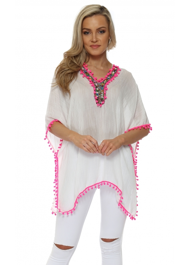 French Boutique Rainbow Beaded Hot Pink Pom Pom Kaftan