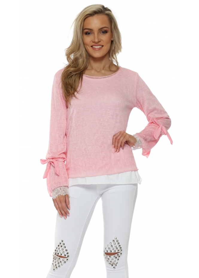 Made In Italy Candy Pink Double Layered Slub Knit Top