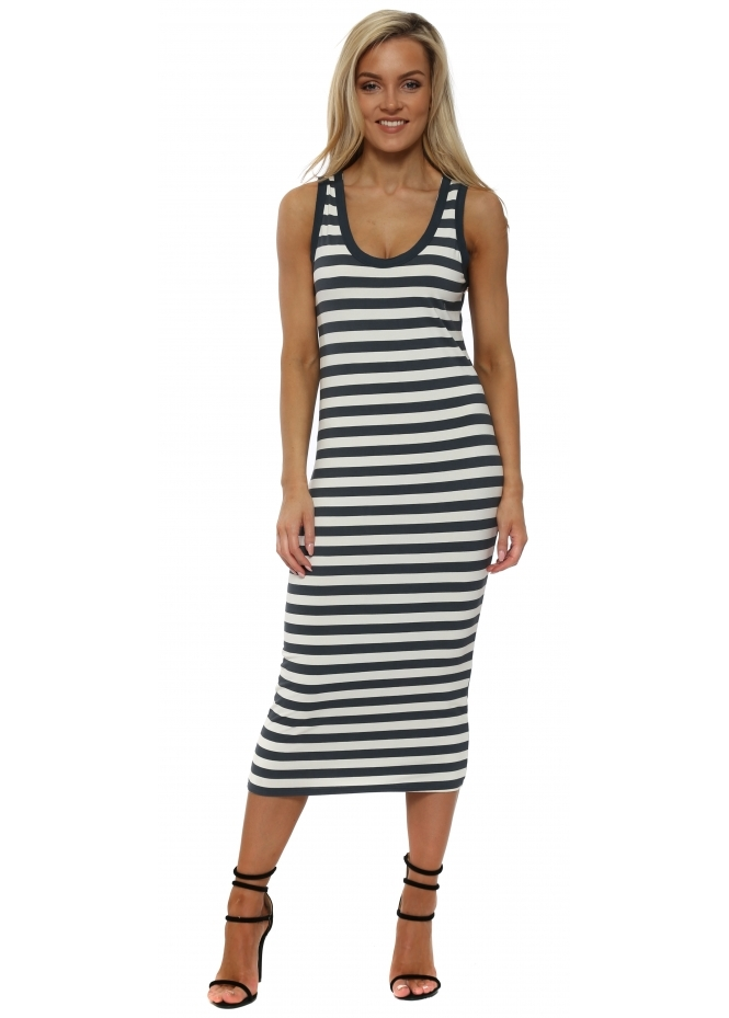 A Postcard From Brighton Hello Sailor Harper Ice White Stripe Midi Dress