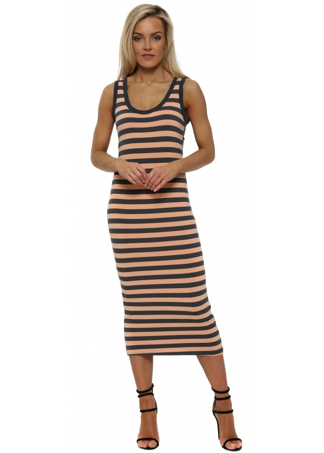 A Postcard From Brighton Hello Sailor Harper Sherbert Stripe Midi Dress