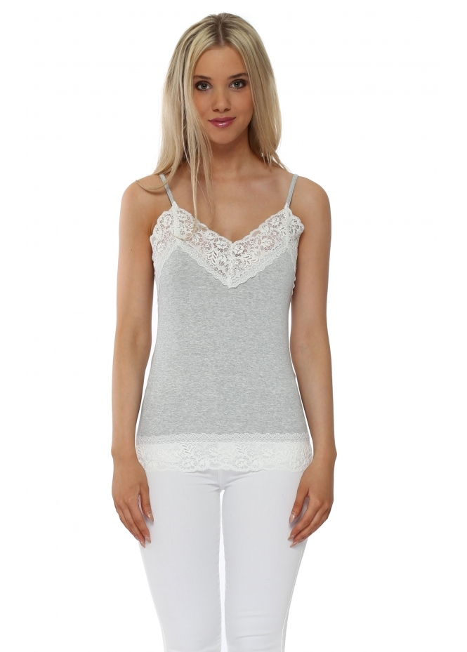 A Postcard From Brighton Ling Ling Ice Melange Lace Camisole Vest