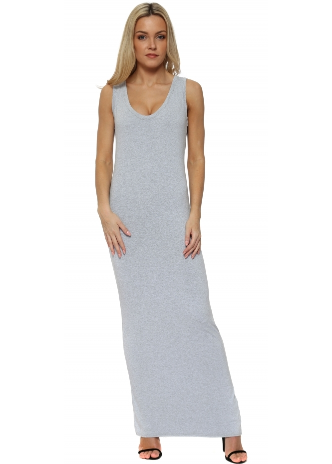 A Postcard From Brighton Wisteria Melange Jersey Sleeveless Maxi Dress