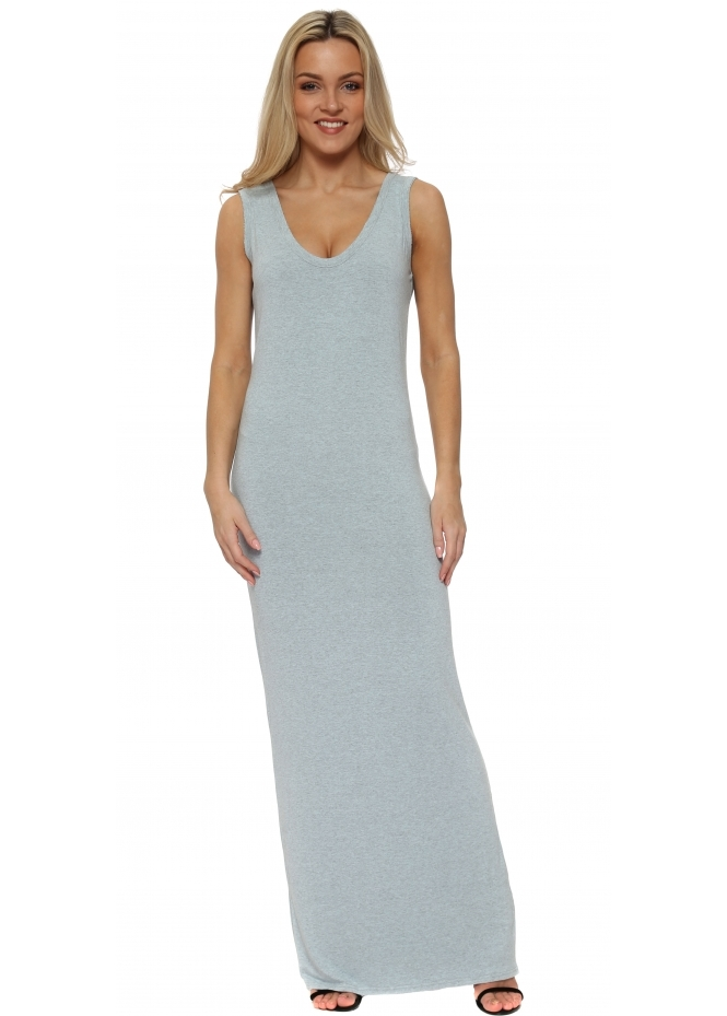 A Postcard From Brighton Sea Foam Melange Jersey Sleeveless Maxi Dress