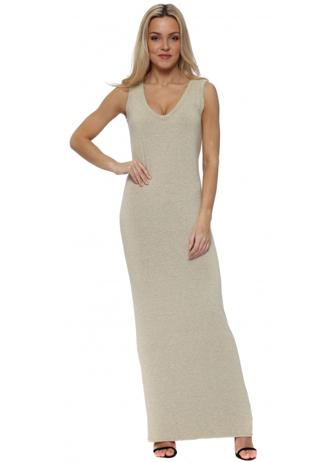 A Postcard From Brighton Sherbert Melange Jersey Sleeveless Maxi Dress