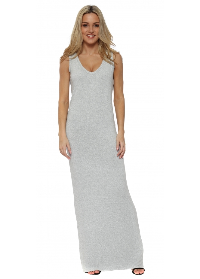 A Postcard From Brighton Ice Melange Jersey Sleeveless Maxi Dress