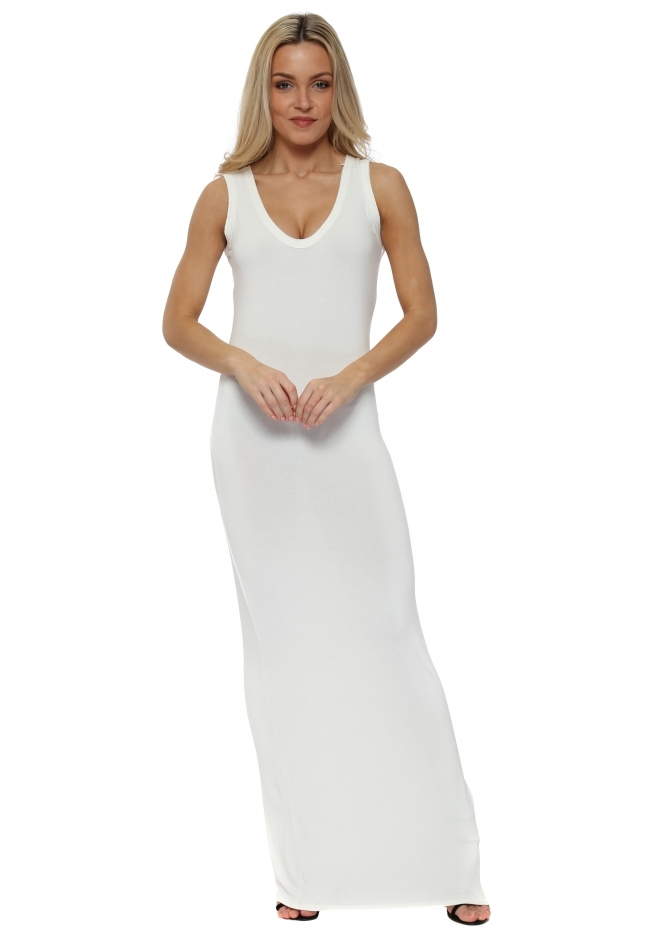 A Postcard From Brighton Ice White Jersey Sleeveless Maxi Dress