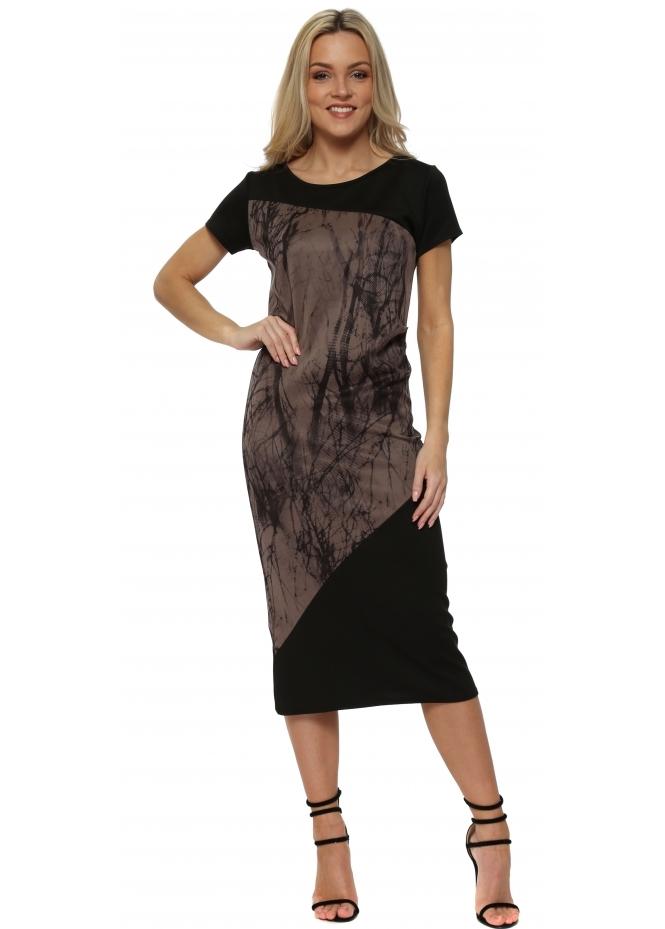 A Postcard From Brighton Tasha Cafe Au Lait Asymmetric Tanglewood Pleated Dress