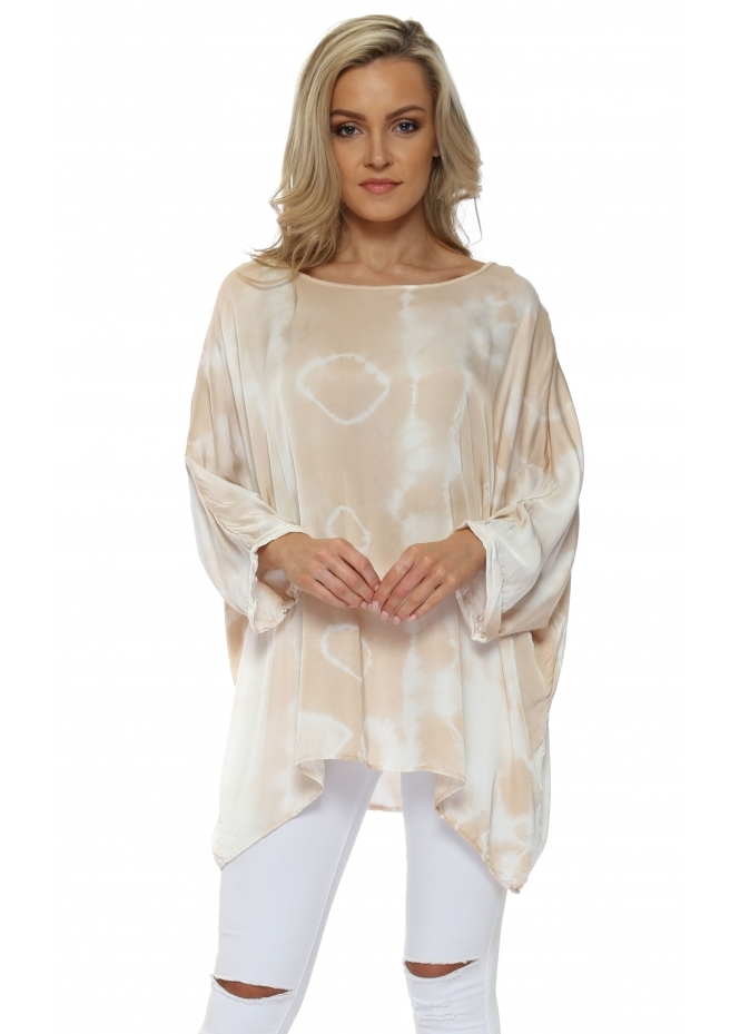French Boutique Nude Tie Dye Loose Fit Silk Top