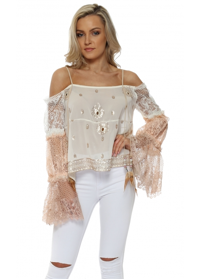 Monaco Cream Sequinned & Lace Cold Shoulder Top
