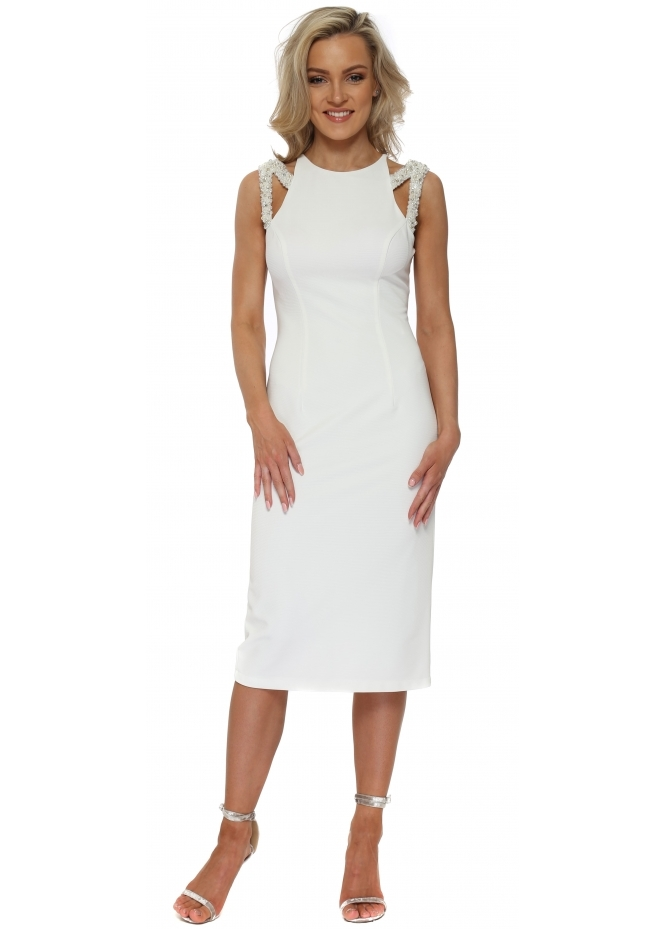 Pia Michi White Jewelled Strap Pencil Dress