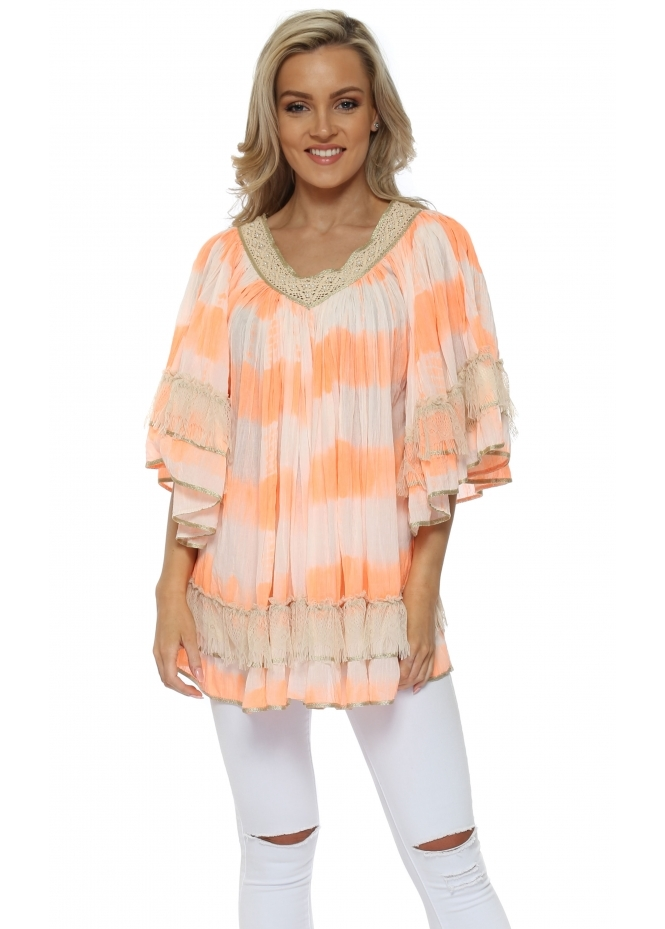 Laurie & Joe Neon Orange Tie Dye Pearl Frilled Layered Top