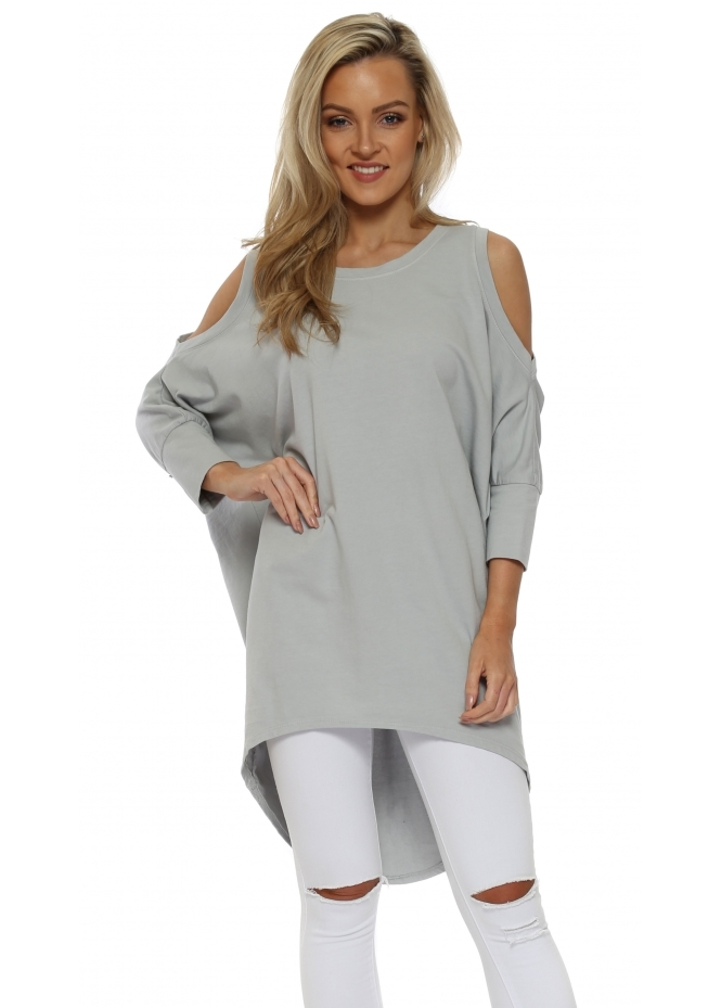 Italian Boutique Grey Cold Shoulder Long Cotton Sweatshirt