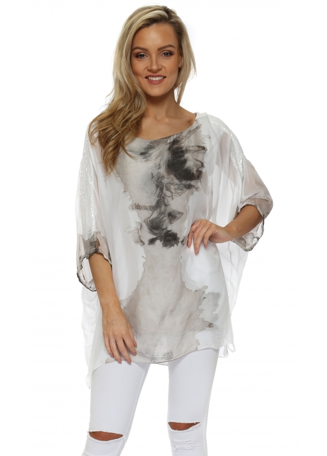 Italian Boutique Mocha Watercolour Sequinned Sleeves Top