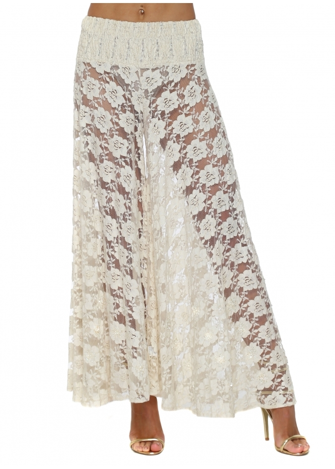 Antica Sartoria Beige Lace Pearl Embellished Palazzo Culottes