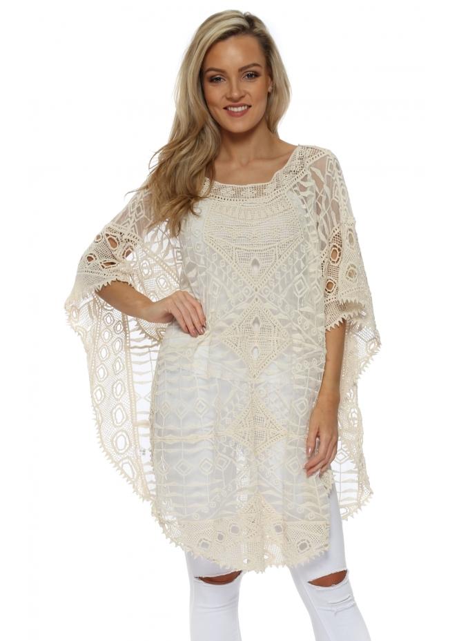JayLey Cream Cotton Vintage Lace Poncho