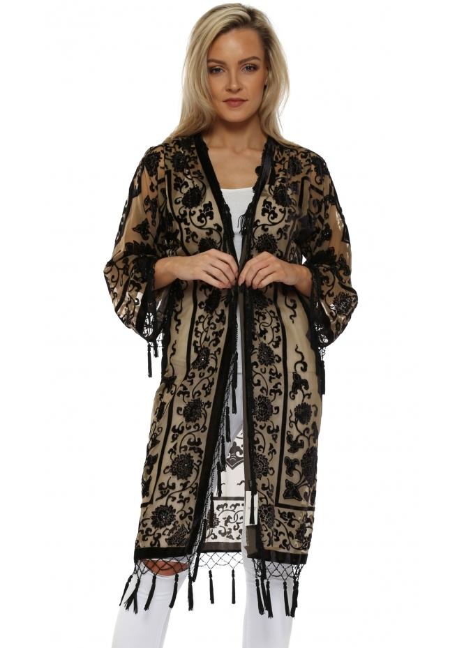 JayLey Black & Gold Silk Devore Kimono