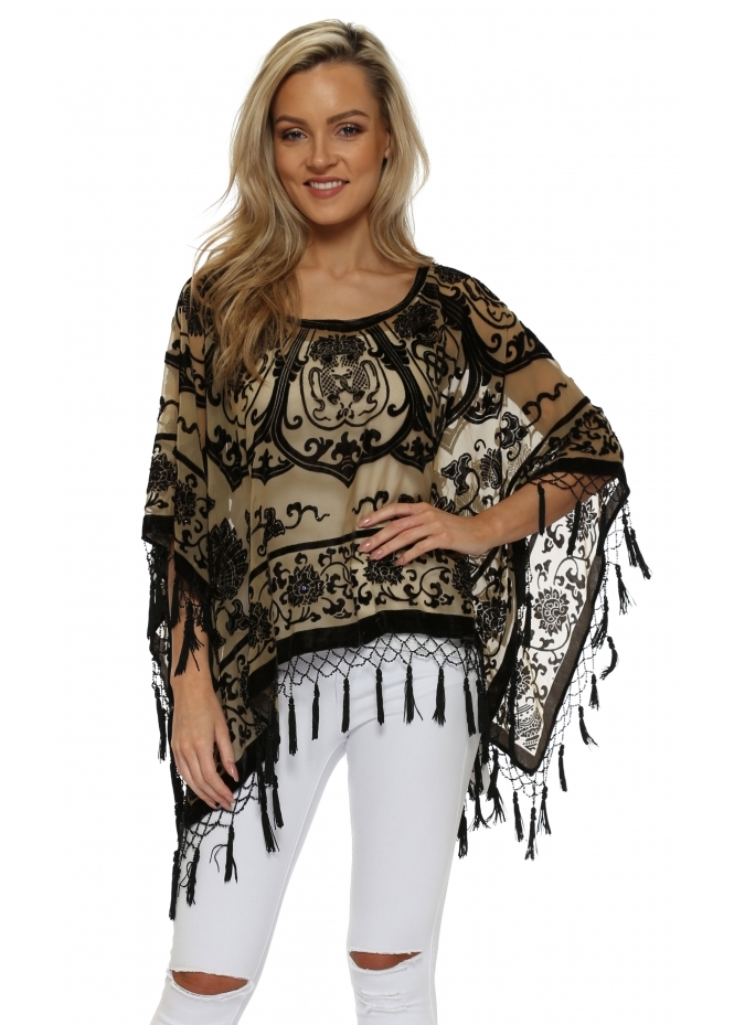 JayLey Oriental Black & Gold Silk Devore Tassel Poncho