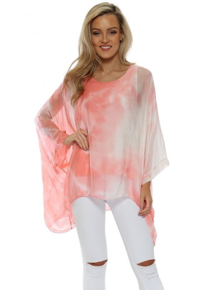 Made In Italy Coral Tie Dye Baggy Top