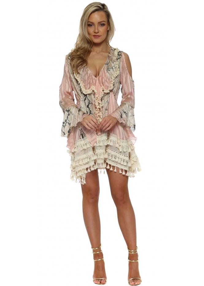 My Story Pink Snake Skin Print Ruffle Mini Dress
