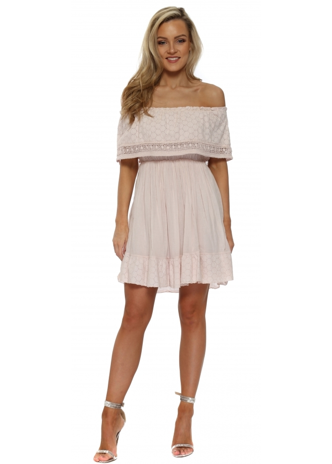 French Boutique Pink Off The Shoulder Summer Mini Dress