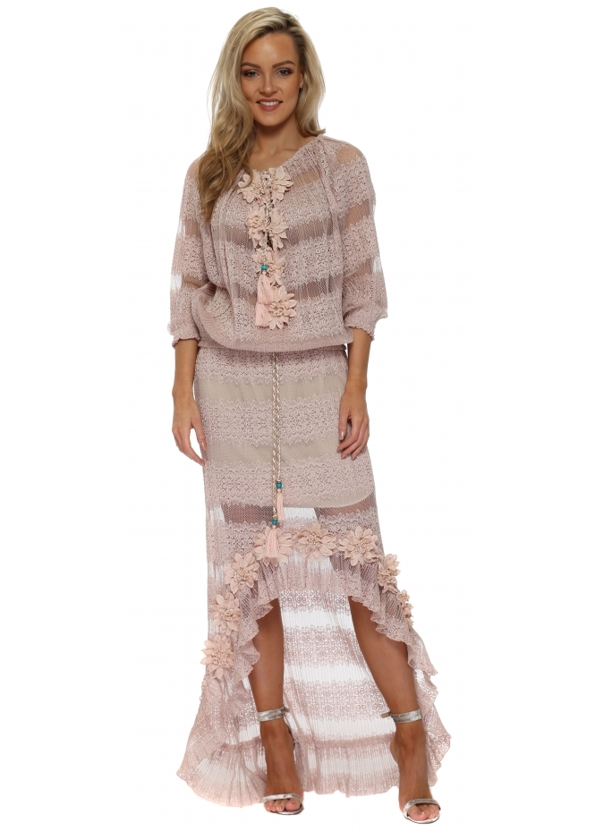 Laurie & Joe Blush Nude Floral Diamante Maxi Skirt & Top