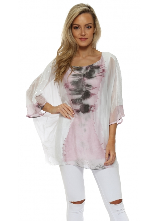 Italian Boutique Pink Watercolour Sequinned Sleeves Top