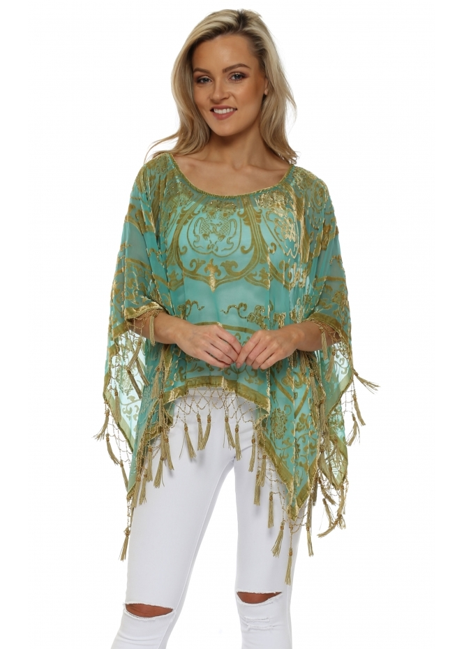 JayLey Green & Gold Silk Devore Tassel Poncho
